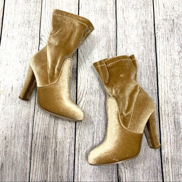 Forever Shoes - Forever Champagne Velvet Dasia Calf Length Boots